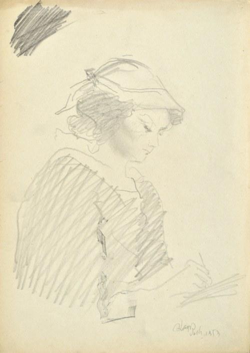 Kasper POCHWALSKI (1899-1971), Młoda kobieta pisząca, 1953