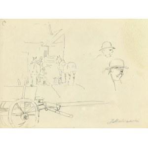Jacek MALCZEWSKI (1854-1929), Szkic wozu, scena w stajni oraz szkic głowy mężczyzny z wąsami z prawego profilu