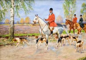 Jerzy KOSSAK (1886-1955), Wyjazd na polowanie par force, 1942