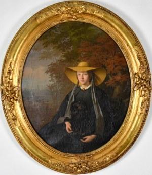 Romuald Roman CHOJNACKI (1818-1885), Portret młodej kobiety w kapeluszu, 1864