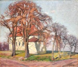 Karol BISKE(1863-1928), Pejzaż jesienny z wiejskim kościółkiem, 1925