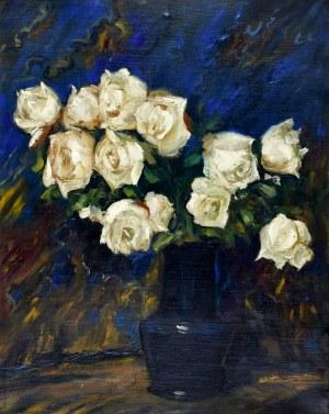 Teodor GROTT (1884-1972), Białe róże w wazonie