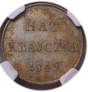 Hungary - War of Independence – Revolution 1848-49 - Ferdinand I. (1835-1848) 6 Kreuzer 1849 NB
