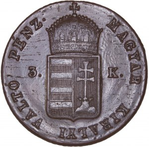 Hungary - War of Independence – Revolution 1848-49 - Ferdinand I. (1835-1848) 3 Kreuzer 1849 NB