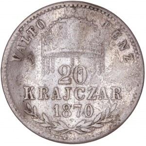 House of Habsburg - Franz Joseph I. (1848-1916) 20 Kreuzer 1870 GYF