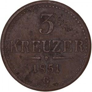 House of Habsburg - Franz Joseph I. (1848-1916) 3 Kreuzer 1851 G