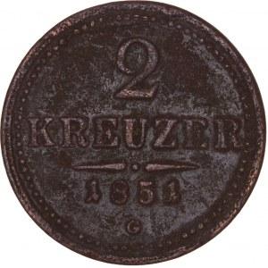 House of Habsburg - Franz Joseph I. (1848-1916) 2 Kreuzer 1851 G