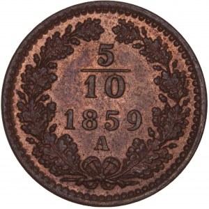 House of Habsburg - Franz Joseph I. (1848-1916) 5/10 Kreuzer 1859 A
