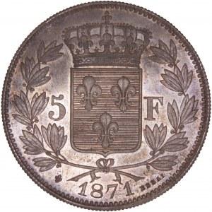 France - Henri V Pretender, 1820-1883 - Essai 5 Francs 1871