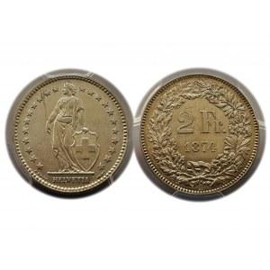 Switzerland - 2 Francs / Franken 1874 B Bern
