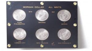 United States - 1878 -1921 ALL 5 MINTS MORGAN 6 pcs SILVER DOLLARS TYPE CHOICE BU SET CAPITAL HOLDER