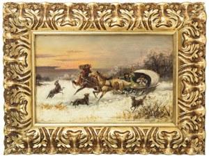 Alfred Steinacker - Viorsky (1838 Oedenburg - 1914 Wiedeń), Para obrazów: Ucieczka przed wilkami, Napad wilków