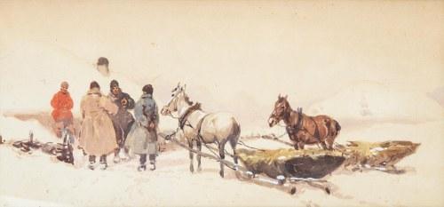 Adam Setkowicz (1875 Kraków - 1945 tamże), Zaprzęg zimowy