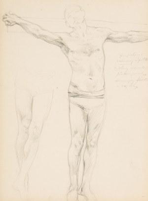 Jan Styka (1858 Lwów - 1925 Rzym), Szkic do Męczeństwa chrześcijan w cyrku Nerona (Recto)/Szkice scen pod krzyżem, ok. 1899