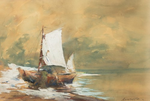 Marian Mokwa (1889 Malary - 1987 Sopot), Łódka na brzegu