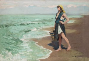 Feliks Michał Wygrzywalski (1875 Przemyśl - 1944 Rzeszów), Dziewczyna oczekująca na rybaka, 1922 r.