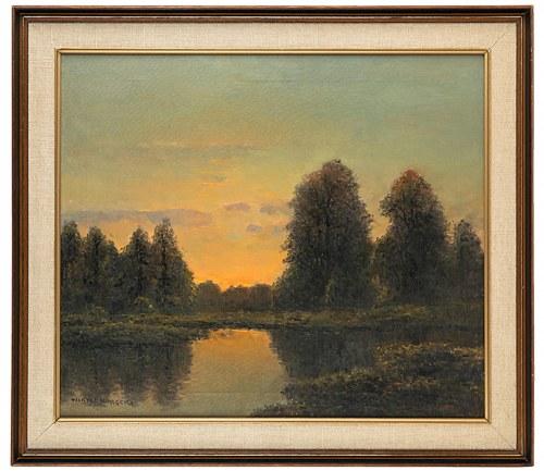 Wiktor Korecki (1890 Kamieniec Podolski - 1980 Milanówek k. Warszawy), Pejzaż z rzeką, zachód słońca
