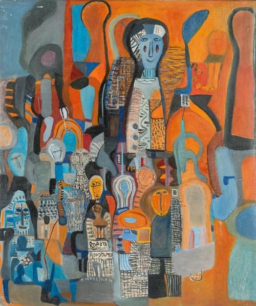 Krystyna Cękalska-Lindert (1920-2011), Miasto kukieł niebieskie, 1970