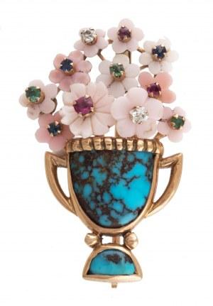 Broszka w formie wazonu z kwiatami, II poł. XX w.