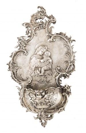 Kropielniczka neorokokowa z Madonną della sedia, Niemcy, II poł. XIX w.