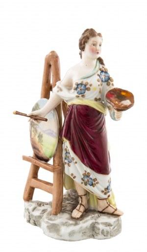 Figurka alegoria malarstwa, Tiebner, Ens & Co., Volkstedt, Turyngia, k. XIX w.