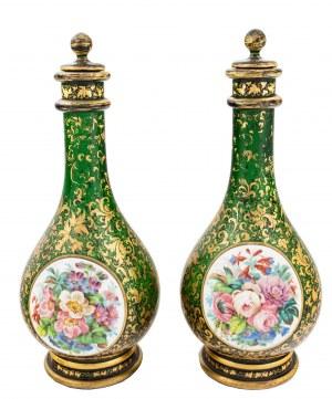 Para karafek w stylu Biedermeier, Czechy, Moser (?), ok. poł. XIX w.