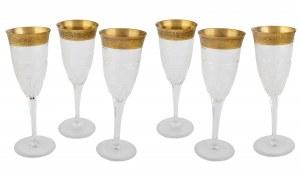 Komplet 6 kieliszków do szampana, Moser, poł. XX w.