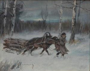 Eligiusz Wacław Baranowski(1904-1997),Wywózka drewna z lasu