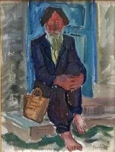 Stanisław Borysowski(1906-1988),Starzec siedzący na schodach