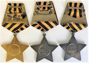 Russia - USSR Full Set of Order of Glory - 1st, 2nd & 3rd Class 1943 RRR