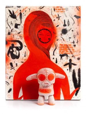 Wojciech Kołacz OTECKI (ur. 1984), Zestaw dwóch prac: obraz i Designer Toy (model Qee)