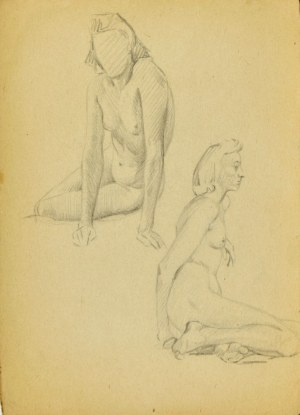 Ludwik MACIĄG (1920-2007), Studia aktu kobiety siedzącej w dwóch pozach