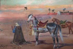 Jerzy Kossak (1886 Kraków - 1955 tamże), Modlitwa na pustyni, 1954 r.