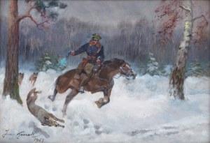 Jerzy Kossak (1886 Kraków - 1955 tamże), Ucieczka przed wilkami, 1951 r.