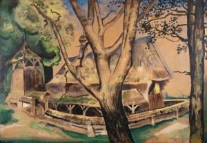 Kazimierz Sichulski (1879 Lwów - 1942 tamże), Cerkiewka między drzewami, 1924 r.