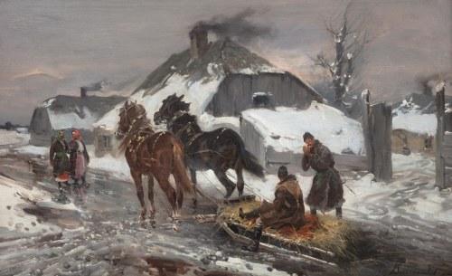 Czesław Wasilewski (1875 Warszawa – 1947 Łódź), Sanie przed chatą