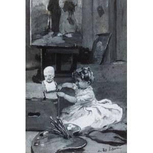 Stanisław Ludwik de Laveaux (1868 Jaronowice k. Jędrzejowa-1894 Paryż), Mała malarka (Dziewczynka w pracowni malarza), 1889 r.
