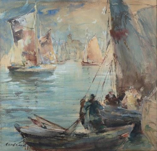 Marian Mokwa (1889 Malary - 1987 Sopot), W porcie, lata 40. XX w.