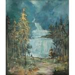 Marian Mokwa (1889 Malary - 1987 Sopot), Pejzaż z wodospadami