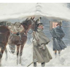 Jerzy KOSSAK (1886-1955), Żołnierze Napoleona przed chatą (1932)