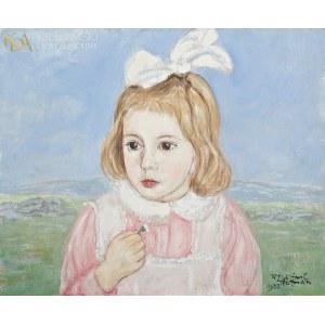 Wlastimil HOFMAN (1881-1970), Portret dziewczynki ze stokrotką (1957)