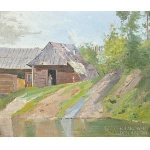 Antoni GRAMATYKA (1841-1922), Pejzaż wiejski z chatami