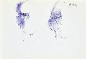 Roman BANASZEWSKI (1932-2021), Szkice twarzy mężczyzn