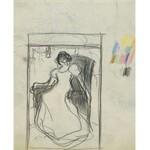 Stanisław KAMOCKI (1875-1944), Szkic kompozycyjny kobiety w długiej sukni siedzącej w fotelu, ok. 1895