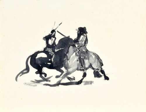 Ludwik MACIĄG (1920-2007), Potyczka – dwóch jeźdźców na koniach