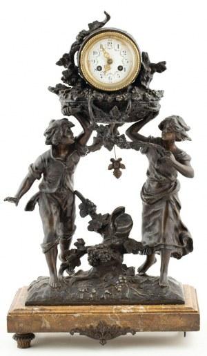ZEGAR KOMINKOWY Z WINOBRANIEM, Francja, k. XIX w.