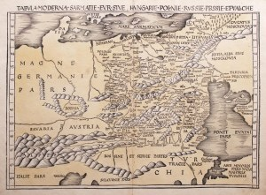 Klaudiusz Ptolemeusz, Tabula Moderna Sarmatie Eur sive Hungarie Polonie Russie Prussie et Valachie