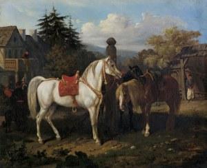 Kossak Juliusz, KONIE PRZED DWORKIEM, 1858