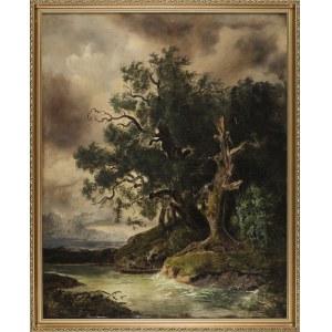 Artysta NIEZNANY, Pejzaż z rzeką i dębami
