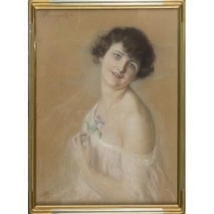 Józef UNIERZYSKI, Portret kobiety z fiołkami